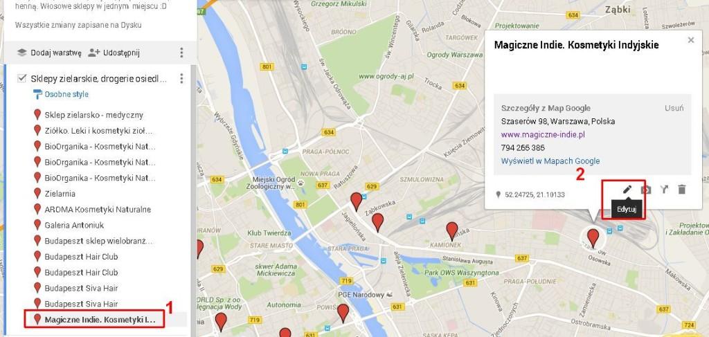mapa sklepów z kosmetykami do włosów