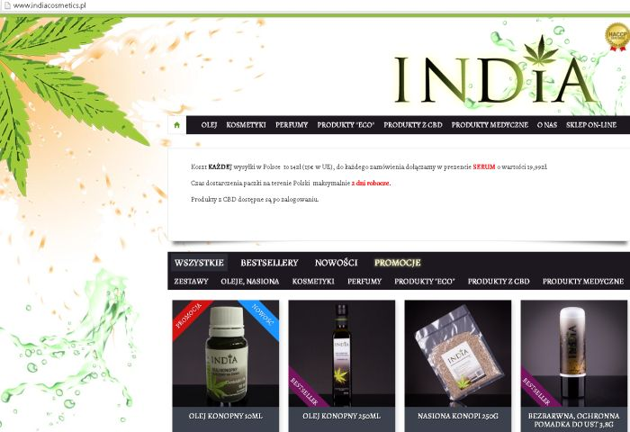 india cosmetics z olejem konopnym